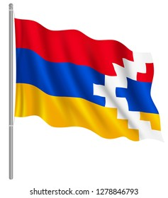 Flag of Nagorno-Karabakh with flag pole waving in wind. Vector illustration