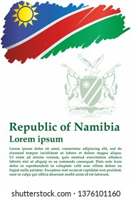 Flag of Namibia, Republic of Namibia. Bright, colorful vector illustration.