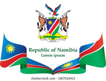 Flag of Namibia, Republic of Namibia. Template for award design, an official document with the flag of Namibia. Bright, colorful vector illustration.