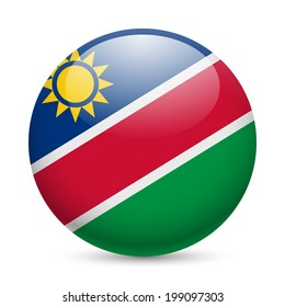 Flag of Namibia as round glossy icon. Button with Namibian flag