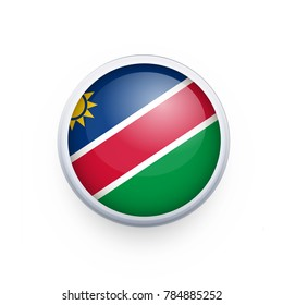 Flag of Namibia as round glossy icon. Button with Namibia flag. National flag for country of Namibia isolated, banner vector illustration. Vector illustration eps10.