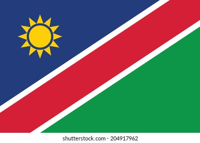 Flag of Namibia. Vector. Accurate dimensions, element proportions and colors.