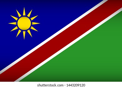 Flag of Namibia. Vector illustration. Patriotic background.