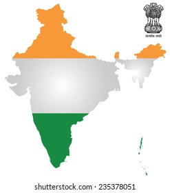 Flag and national emblem of the Republic of India overlaid on outline map isolated on white background text translation Truth Alone Triumphs