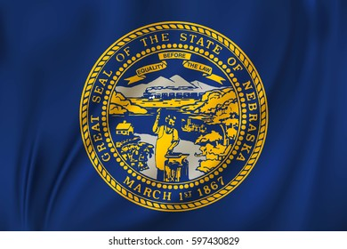 Flag of Nebraska state of the United States. Vector illustration. Waving in the wind on silk background