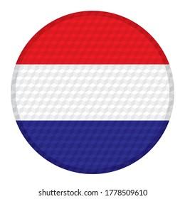 Flag Of Nederland. Flag Of Nederland On A Button Vector illustration. Nederland Flag Isolated On White Background