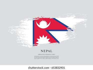 Flag of Nepal, brush stroke background
