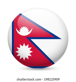 Flag of Nepal as round glossy icon. Button with Nepalese flag