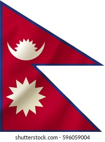 Flag of Nepal waving in the wind on silk background