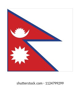 Flag of Nepal,Nepal Flag Vector Square Icon - Illustration, Flag of Nepal. Abstract concept, icon, square, button. Raster illustration on white background.
