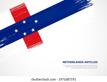 Flag of Netherlands Antilles with creative painted brush stroke texture background