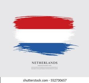 Flag of Netherlands, brush stroke background