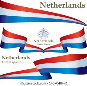 Flag of the Netherlands. Kingdom of the Netherlands. Template for award design, an official document with the flag of Netherlands. Bright, colorful vector illustration