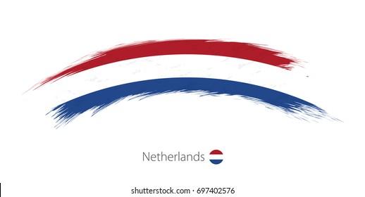 Flag of Netherlands in rounded grunge brush stroke. Vector illustration.