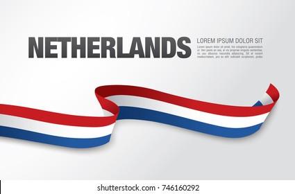Flag of Netherlands, vector illustration, card layout design