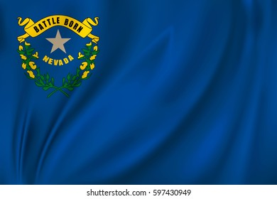 Flag of Nevada state of the United States. Vector illustration. Waving in the wind on silk background