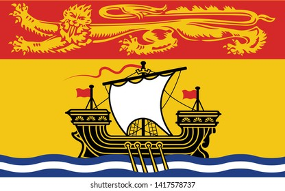 Flag of New Brunswick is one of four Atlantic provinces on the east coast of Canada. Vector illustration