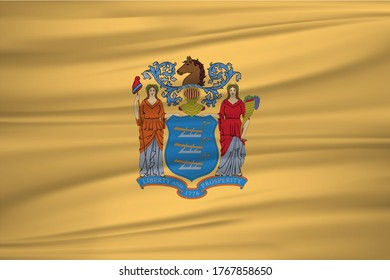 Flag of New Jersey. United States of America. Realistic waving flag of Nebraska vector background.