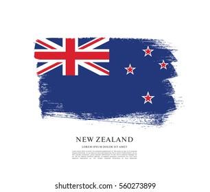 Flag of New Zealand, brush stroke background