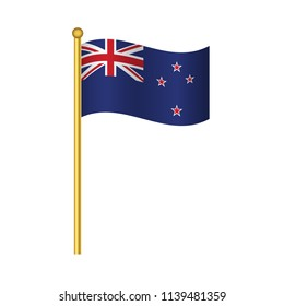 Flag of New Zealand ,New Zealand flag official colors and proportion correctly, New Zealandflag waving isolated Vector illustration eps10.