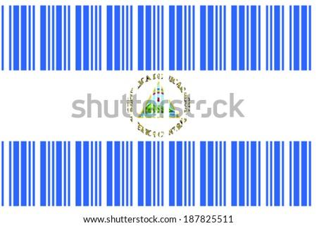 Flag Nicaragua Barcode Format Stock Vector (Royalty Free