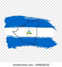 Flag Nicaragua from brush strokes and Blank map Nicaragua. High quality map Republic of Nicaragua and flag on transparent background.  Stock vector. Vector illustration EPS10.