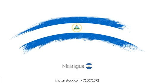 Flag of Nicaragua in rounded grunge brush stroke. Vector illustration.