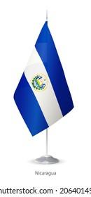 Flag of Nicaragua. Vector Flagstaff.