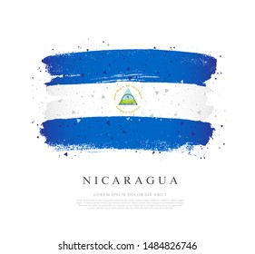 Flag of Nicaragua. Vector illustration on a white background. Brush strokes are drawn by hand. Independence Day.
