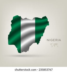flag of Nigeria as the country with the shadow