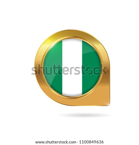 Flag Nigeria Location Map Pin Button Stock Vector (Royalty Free ...