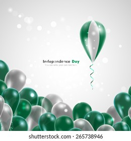Flag of Nigeria on balloon. Celebration and gifts. Ribbon in the colors are twisted. Independence Day. Balloons on the feast of the national