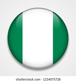 Flag of Nigeria. Round glossy badge
