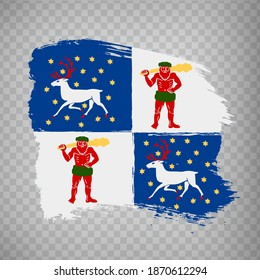 Flag Norrbotten County  brush strokes. Flag of Norrbotten County on transparent background for your web site design, app, UI. Sweden. EPS10.