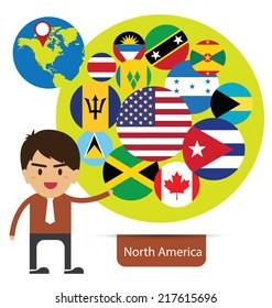 Flag of North America. vector Illustration.