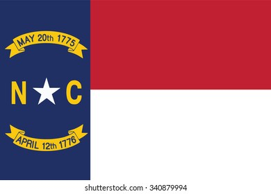 Flag of North Carolina state of the United States. Vector illustration.