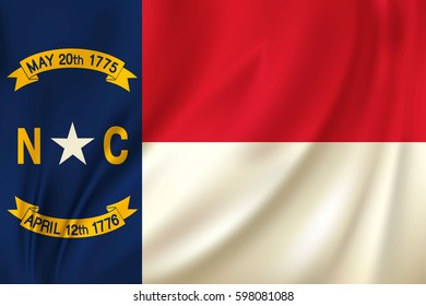 Flag of North Carolina state of the United States. Vector illustration. Waving in the wind on silk background