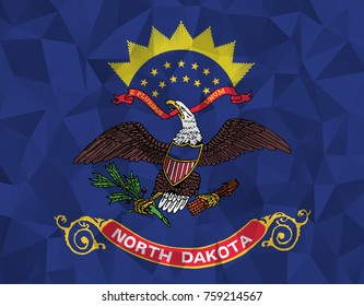 Flag of North Dakota. In the United States. In Polygonal Striped . vector eps10.