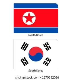 Flag of North Korea and South Korea