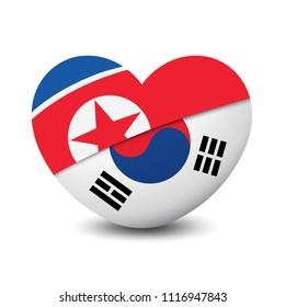 Flag of North Korea and South Korea heart shape, friendship relationship design background, vector illustration