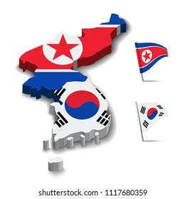 Flag of North Korea and South Korea, Map 3d flag friendship relationship design background, vector illustration