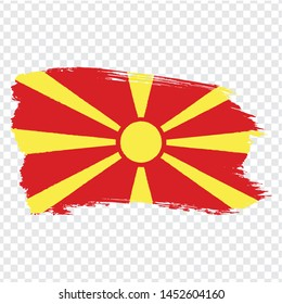 Flag North Macedonia from brush strokes.  Flag  North Macedonia on  transparent background for your web site design, logo, app, UI. Stock vector. Vector illustration EPS10