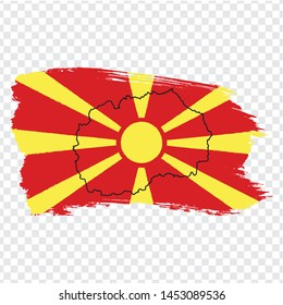 Flag of North Macedonia from brush strokes and Blank map North Macedonia. High quality map North Macedonia and flag on transparent background.