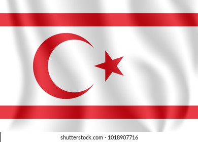 Flag of Northern Cyprus. Realistic waving flag of Turkish Republic of Northern Cyprus. Fabric textured flowing flag of Northern Cyprus.