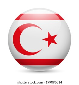 Flag of Northern Cyprus as round glossy icon. Button with flag design