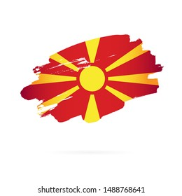 Flag of Northern Macedonia. Vector illustration on a white background. Brush strokes are drawn by hand.