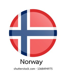 Flag of Norway circle shaped design.Vector