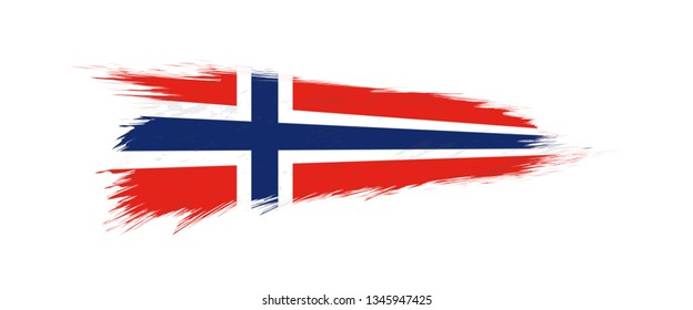 Flag of Norway in grunge brush stroke, vector grunge illustration.