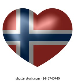 flag of Norway in heart shape. vector illustration.