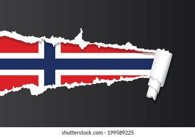 Flag of Norway under ripped paper vector illustration.
